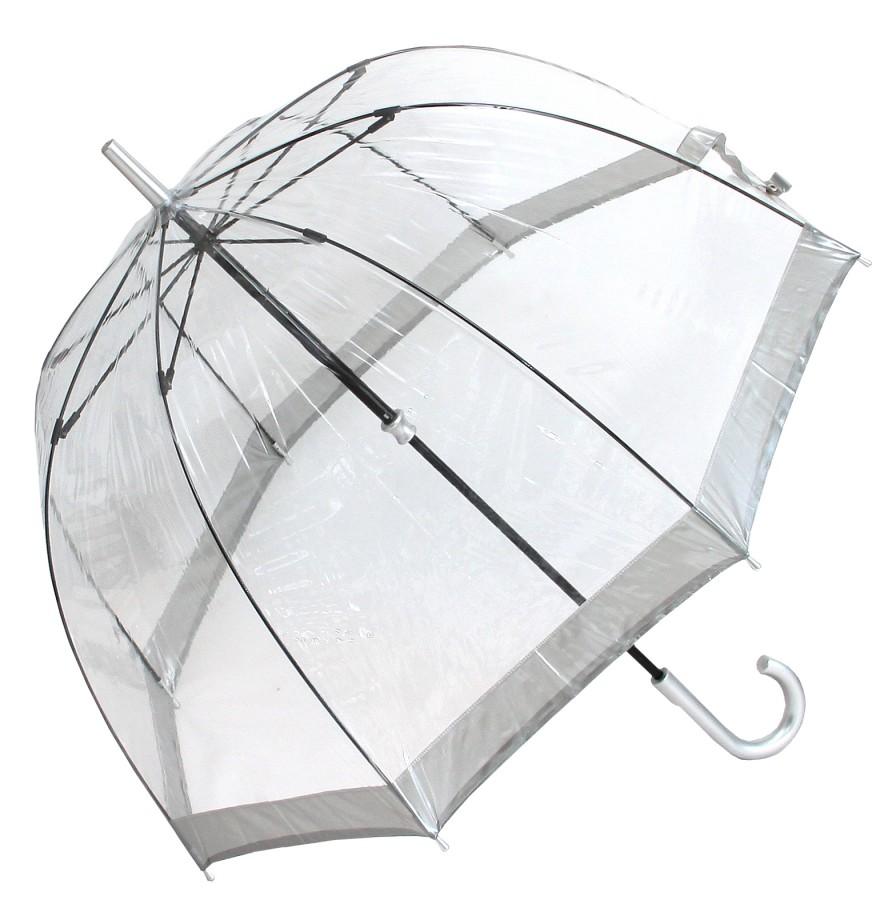 fulton regenschirm glockenschirm transparent durchsichtig silberrand. Black Bedroom Furniture Sets. Home Design Ideas